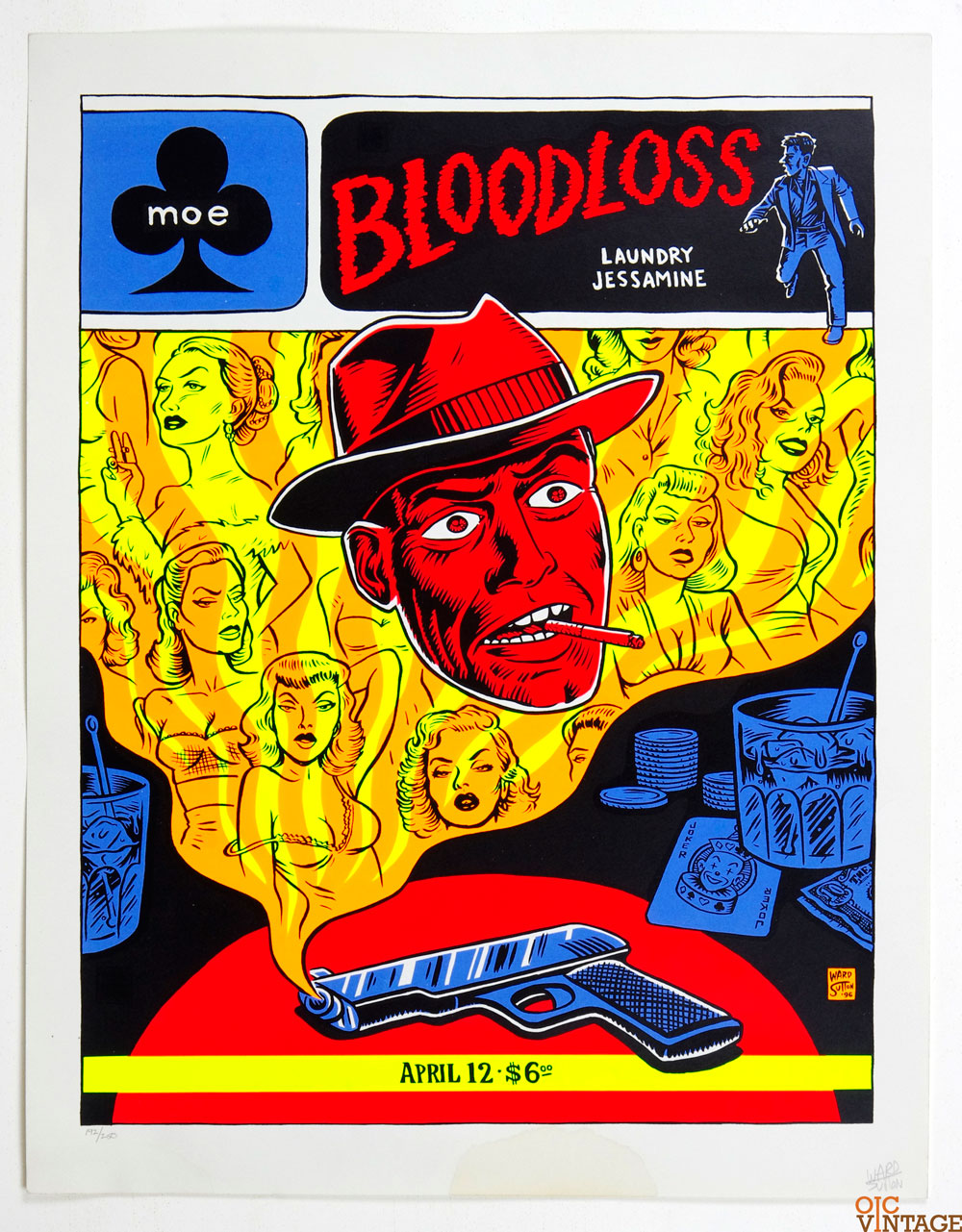 Bloodloss Poster Laundry Jessamine 1996 Apr 12 MOE Seattle Ward Sutton Signed Numbered
