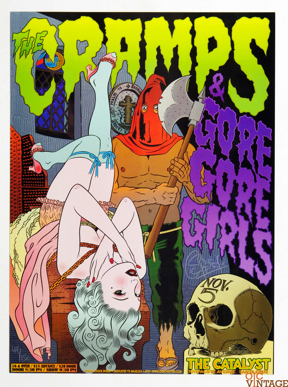 Cramps Poster 2005 Nov 5 The Catalyst Santa Cruz Chuck Sperry signed numbered