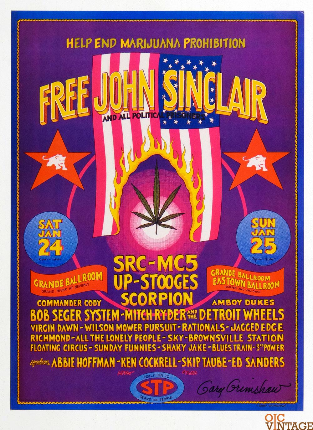Grande Ballroom Poster 1970 Jan 24 Free John Sinclaire MC5 Gary Grimshaw signed