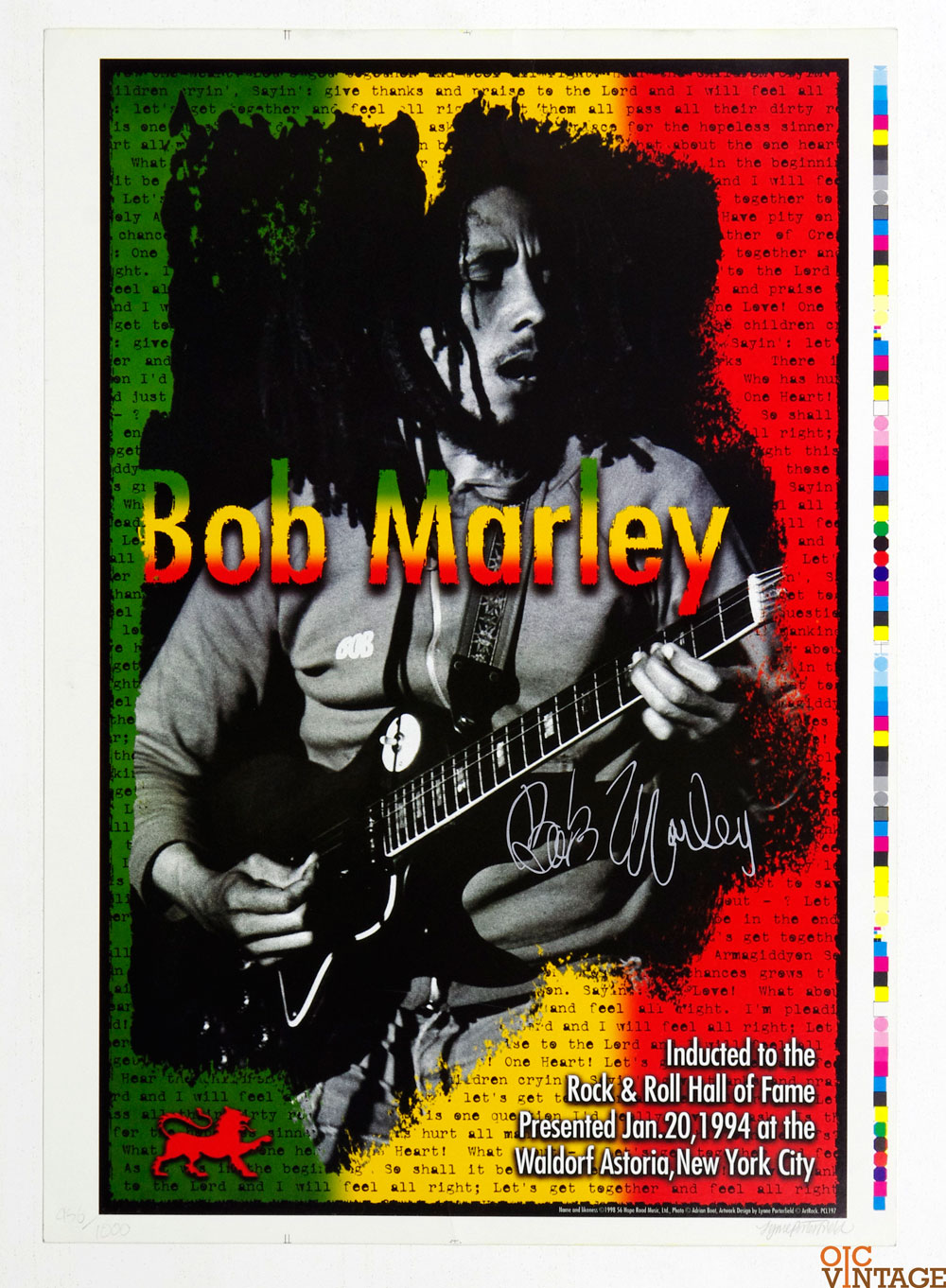 Bob Marley signed Poster Proof Rock and Roll Hall of Fame Inducted 1994 Lynn Porterfiled signed and numberd