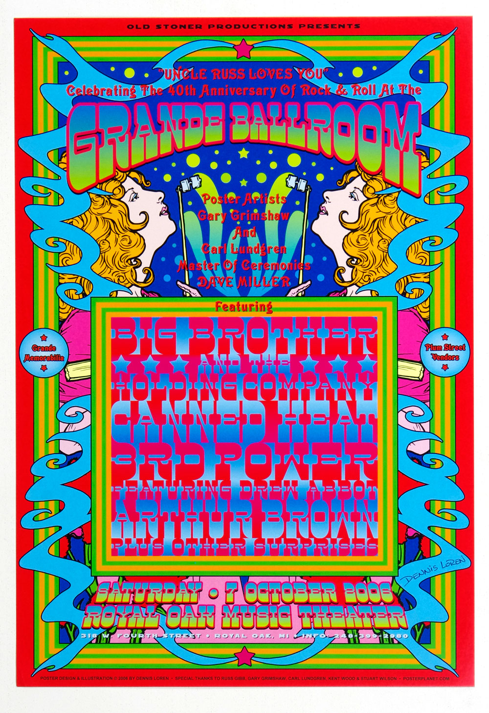 Grande Ballroom Poster 2006 Oct 7 40th Anniversary of Rock and Roll Dennis Loren signed
