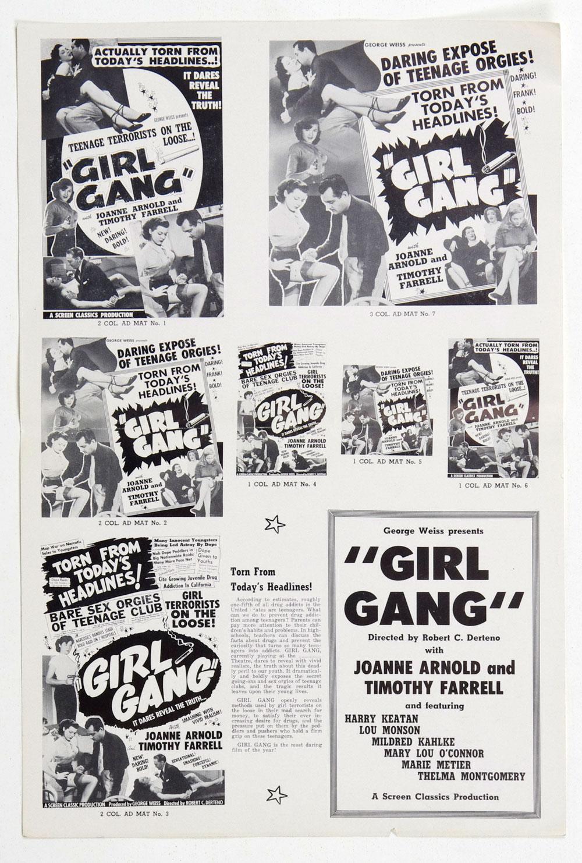Girl Gang 1954 Movie Ad Mat Sheet
