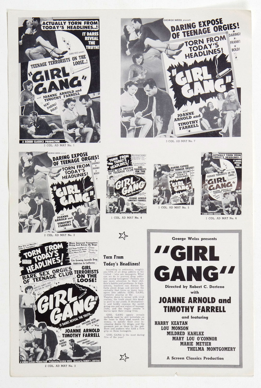 Girl Gang Movie Ad Mat Sheet 1954