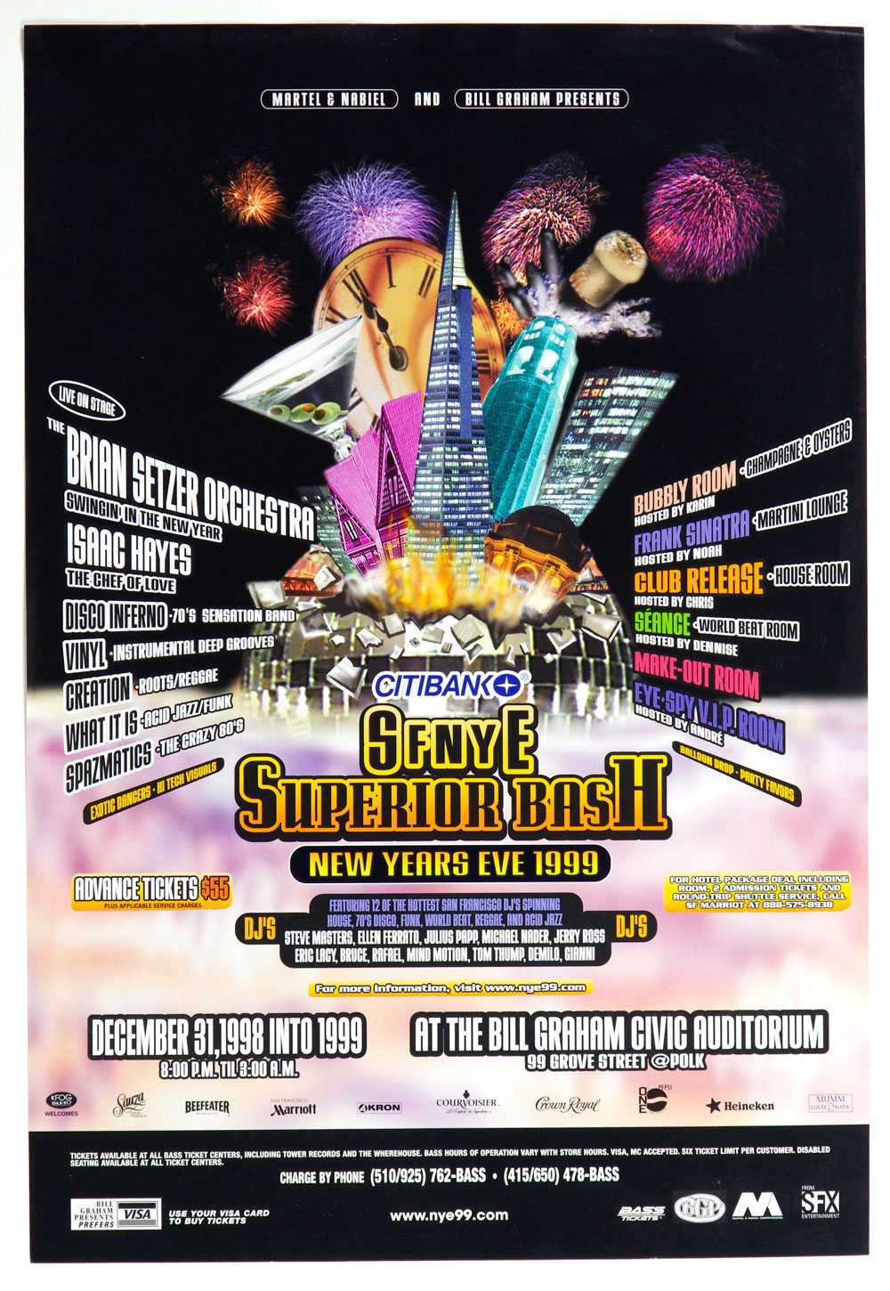 Bill Graham Presents 1999 San Francisco New Years Eve Events Poster