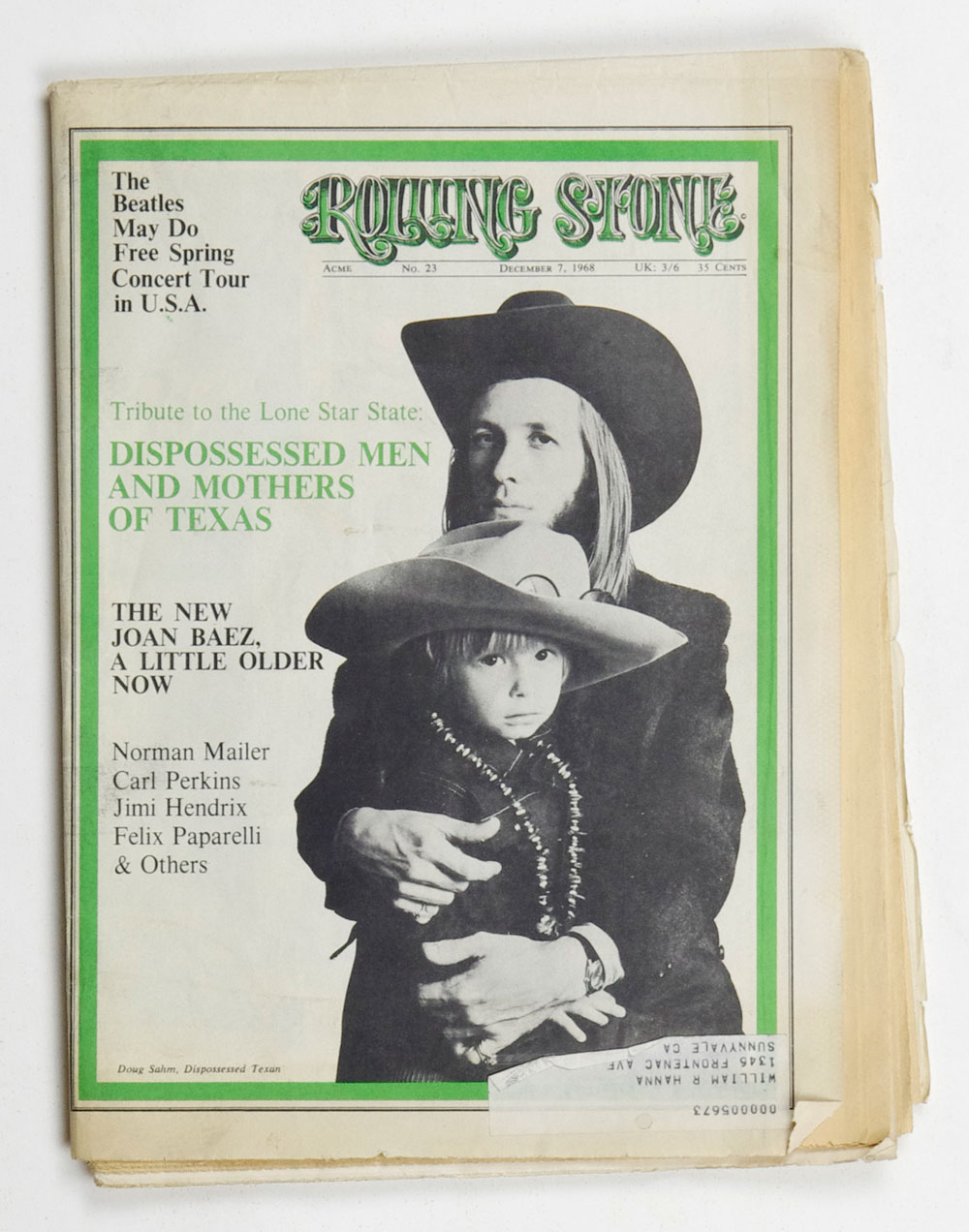 Rolling Stone Magazine 1968 Dec 7 No. 23 Doug Sahm
