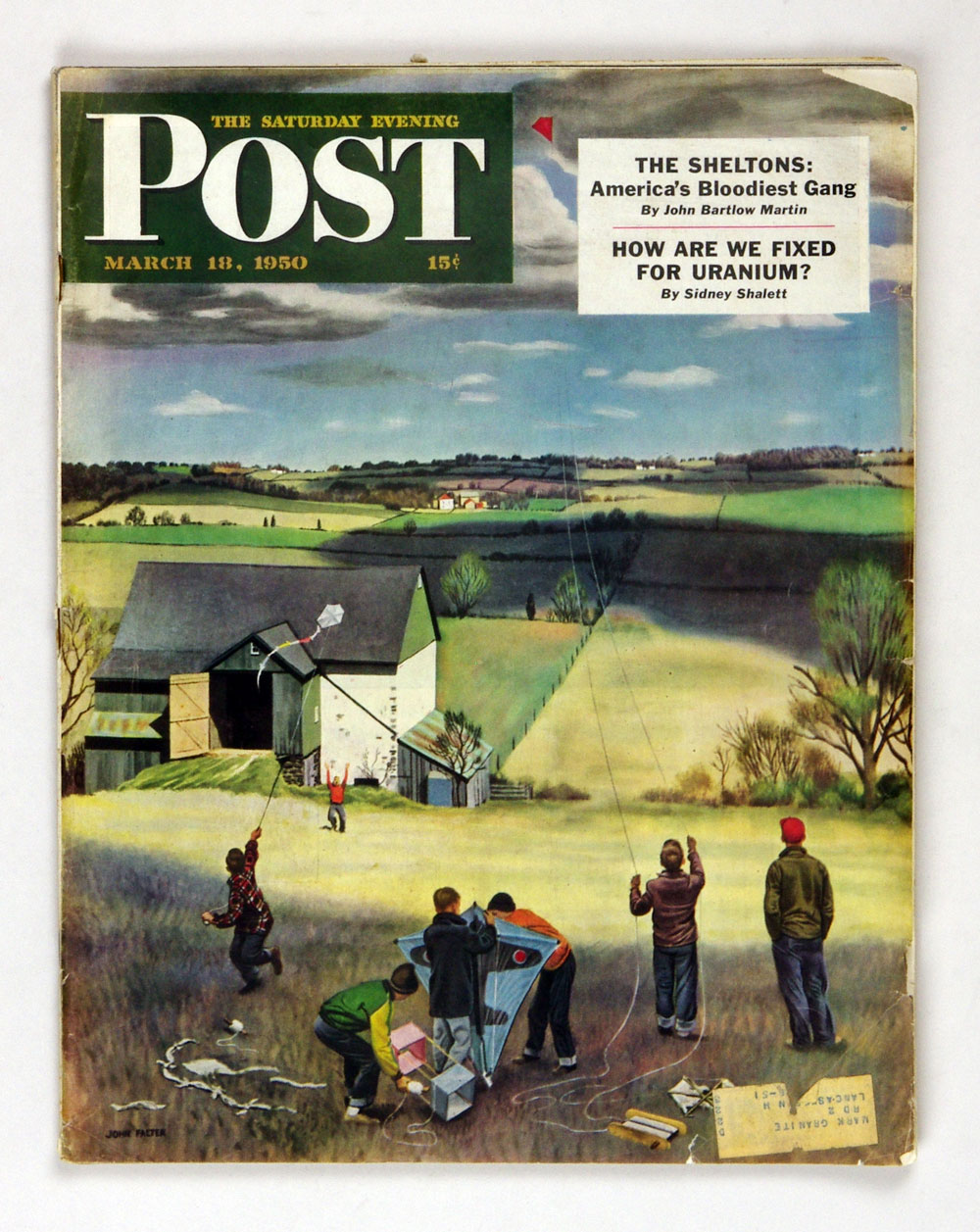 The Saturday Evening Post 1950 Mar 18 Kite Flying by John Falter