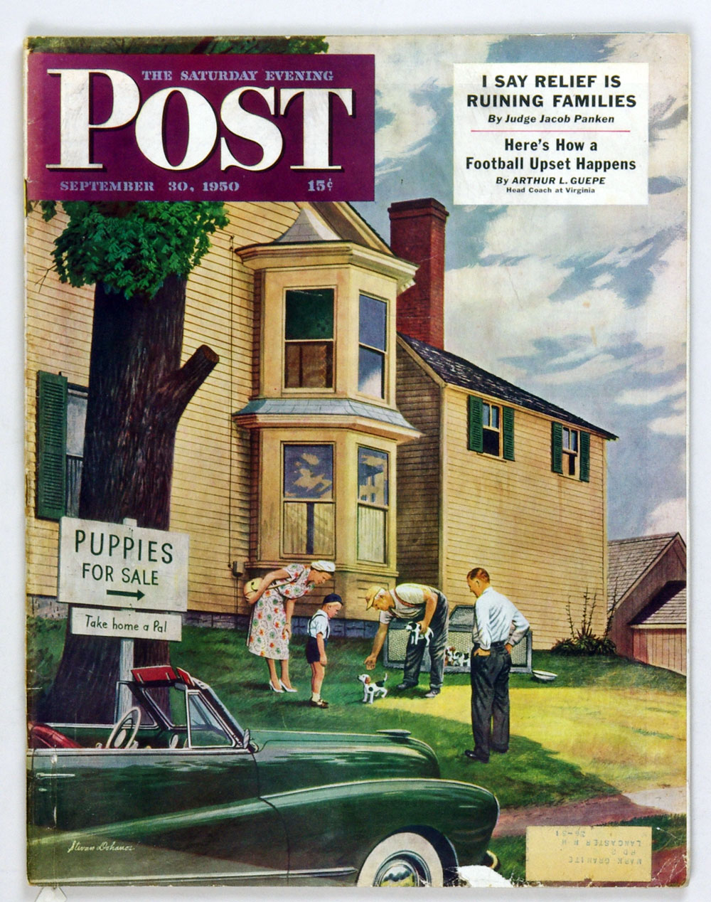 The Saturday Evening Post 1950 Sep 30 Puppies for Sale by Dohanos