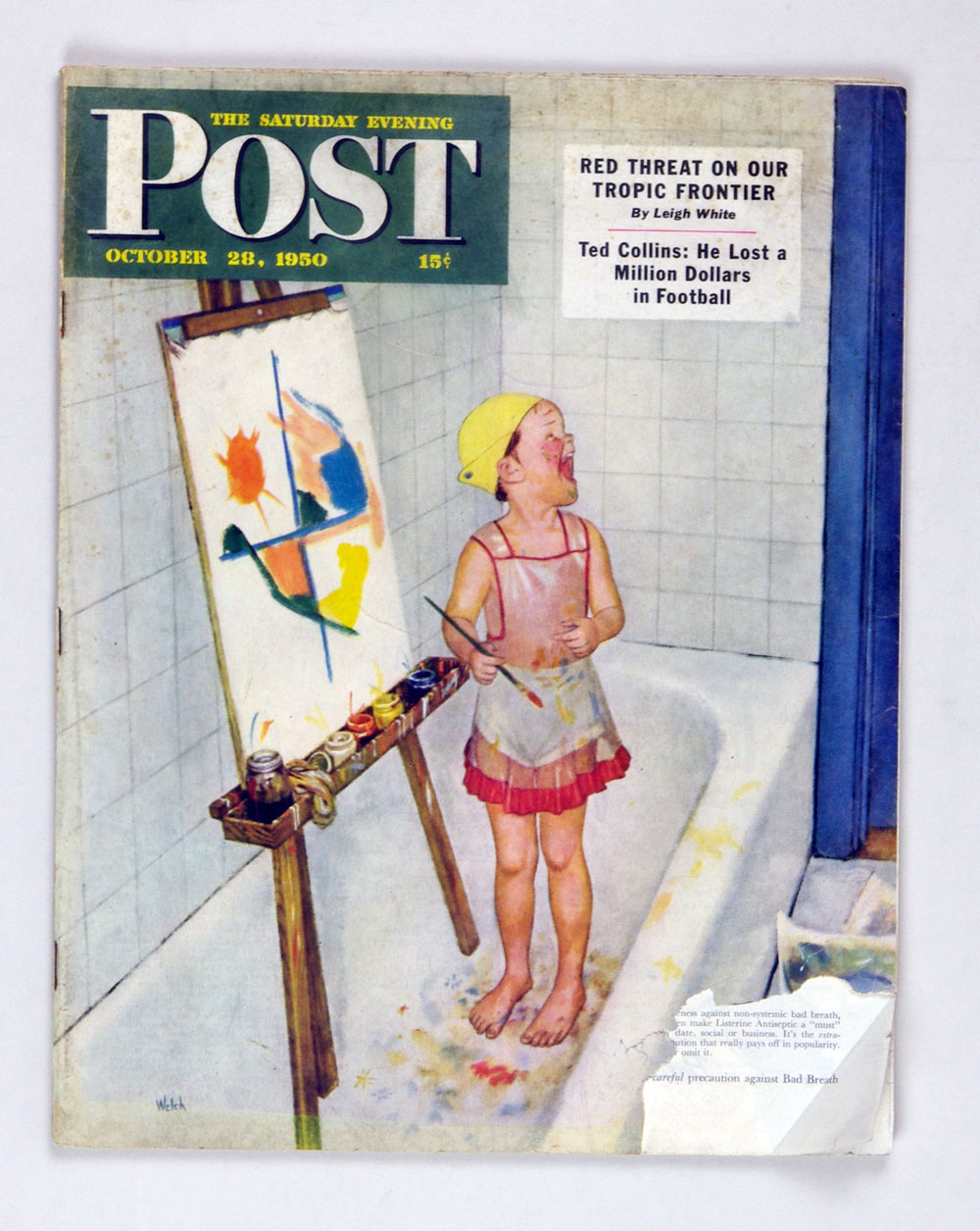 The Saturday Evening Post 1950 Oct 28 Kid Painting in Bathtub