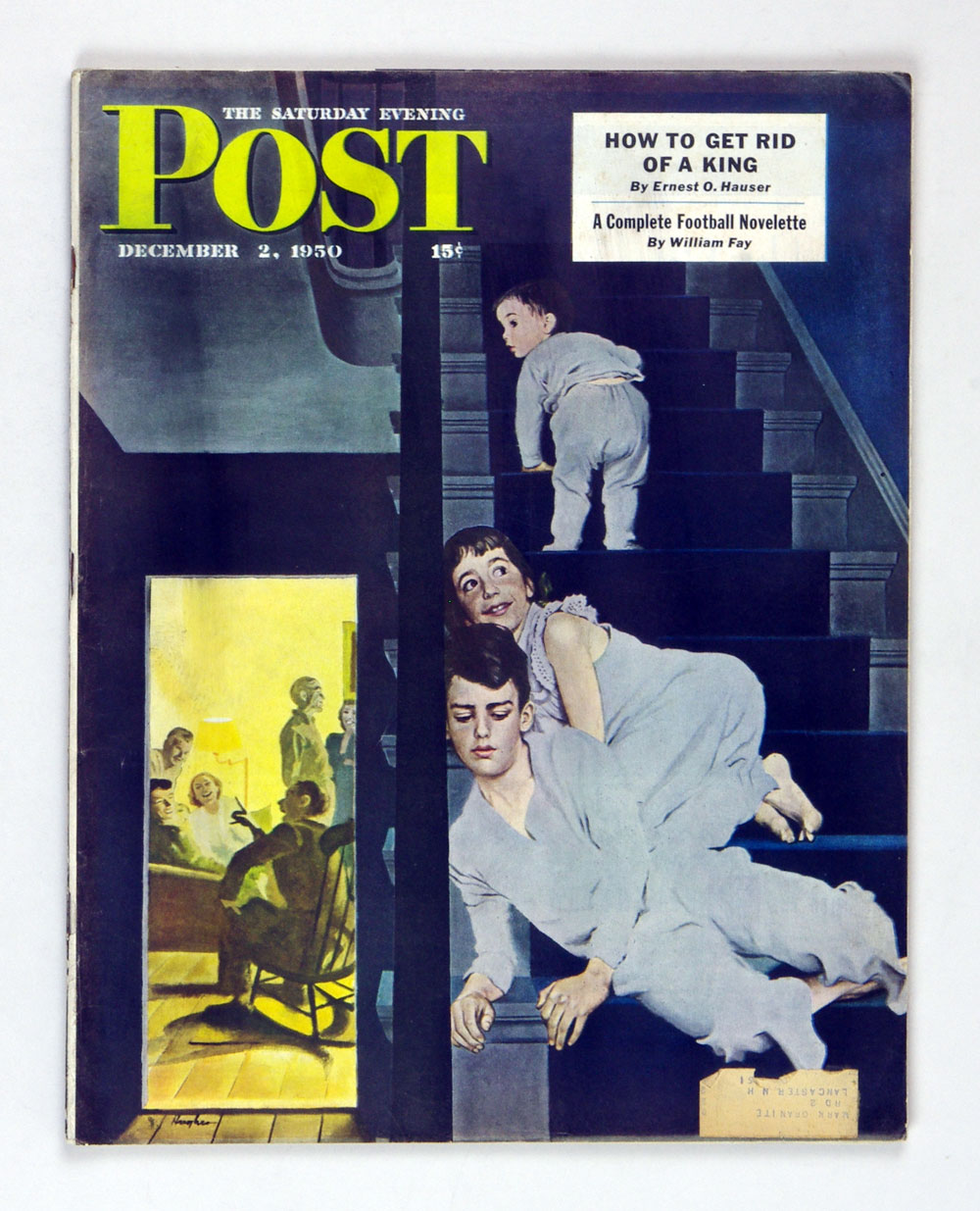 The Saturday Evening Post 1950 Dec 2 Kids on Steps by Hughes