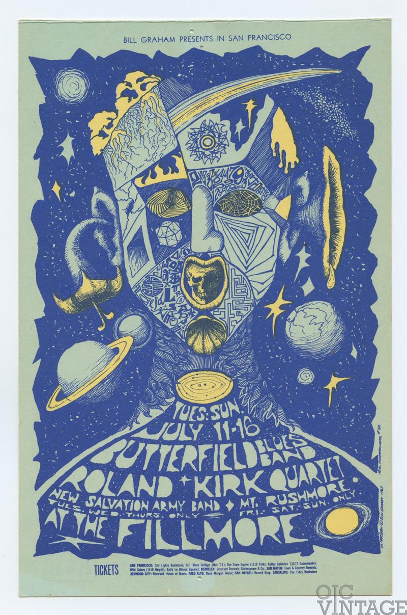 BG 72 Postcard Mailed Paul Butterfield Blues Band 1967 Jul 11