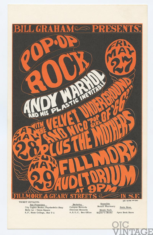 BG 8 Postcard Andy Warhol Velvet Underground 1966 May 27