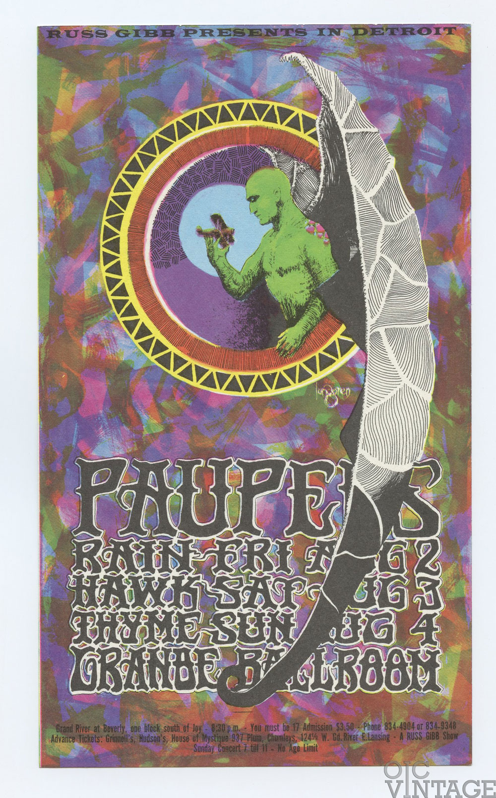 Grande Ballroom 1968 Aug 2 Postcard Paupers Rain Hawk Tyme