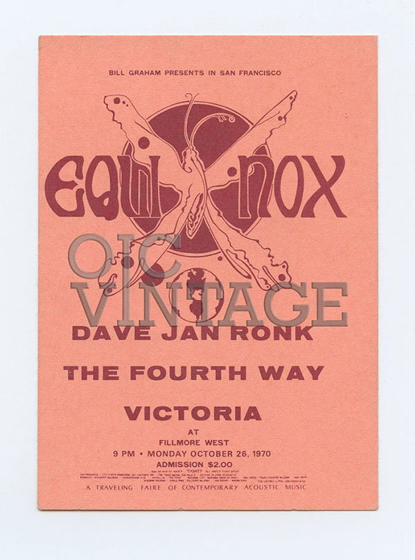 Bill Graham Presents Ticket The Fourth Way Victoria Fillmore West 1970 Oct 26