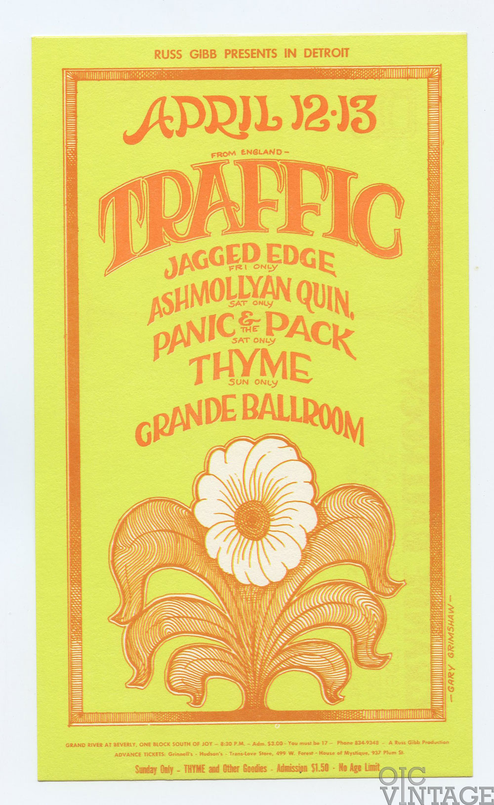 Grande Ballroom Postcard 1968 Apr 12 Traffic Jagged Edge Ashmollyan Quintet