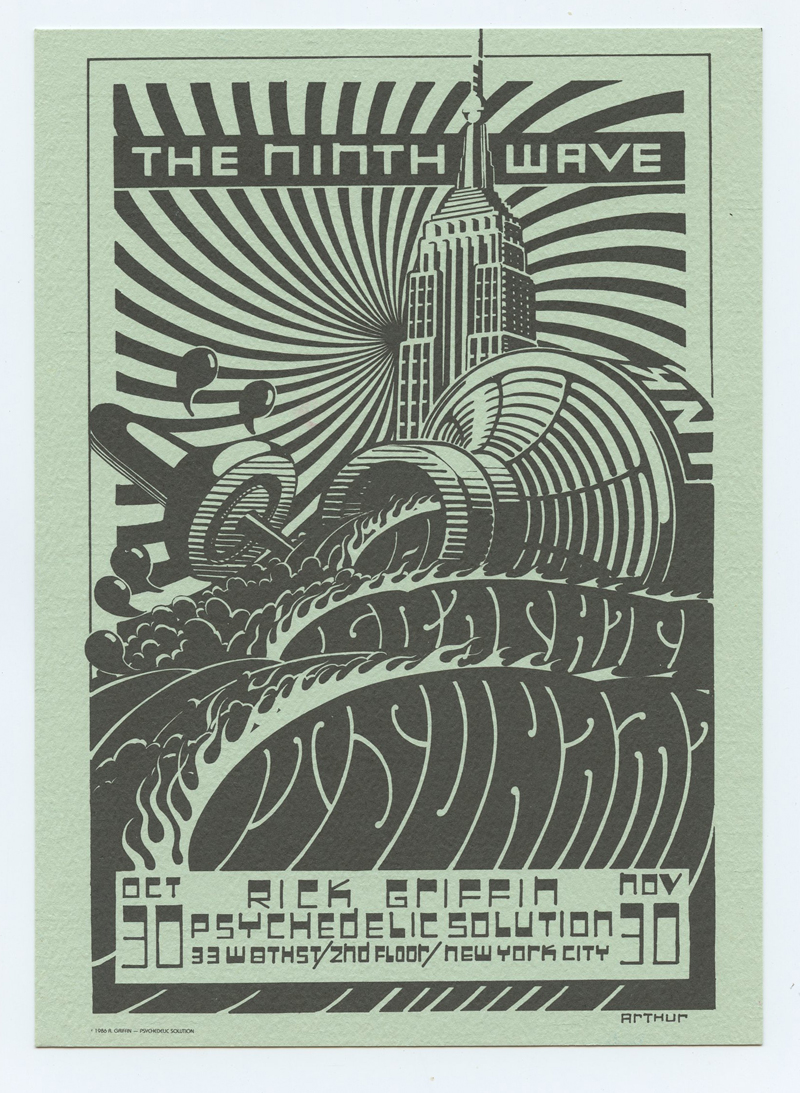 Rick Griffin Postcard 1986 Oct 20 THE NINTH WAVE Exhibition