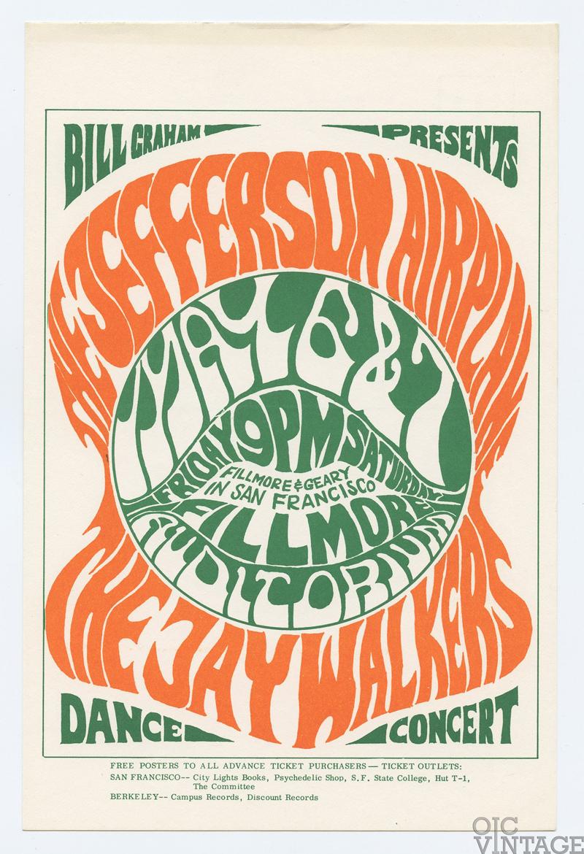 Bill Graham 5 Postcard Jefferson Airplane Jaywalker 1966 May 6