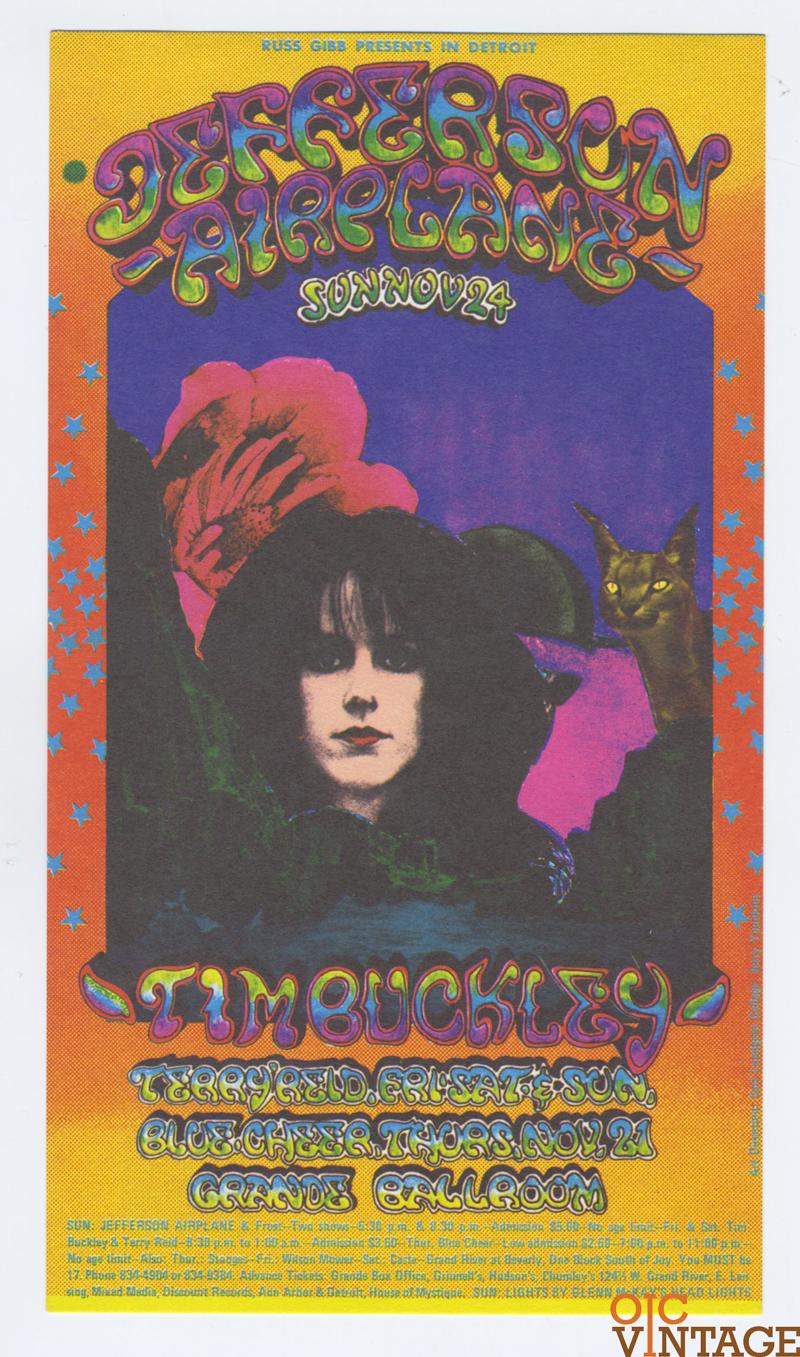 Grande Ballroom Postcard 1968 Nov 24 Jefferson Airplane Tim Buckley AOR 3.158