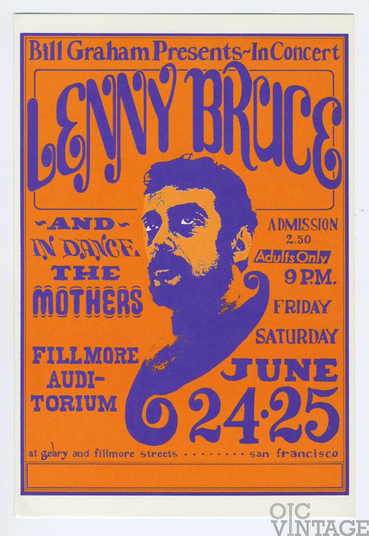 Bill Graham 013 Postcard Lenny Bruce The Mothers 1966 Jun 24