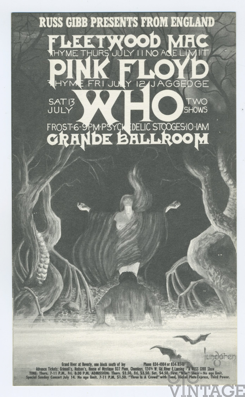 Grande Ballroom Postcard 1968 Jul 11 Pink Floyd Fleetwood Mac The Who