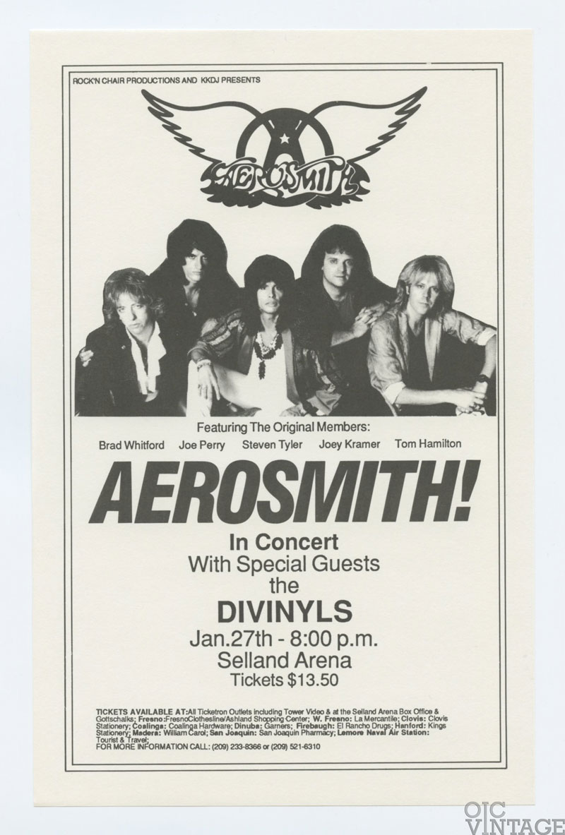 AEROSMITH Handbill 1986 Jan 28 Selland Arena Fresno
