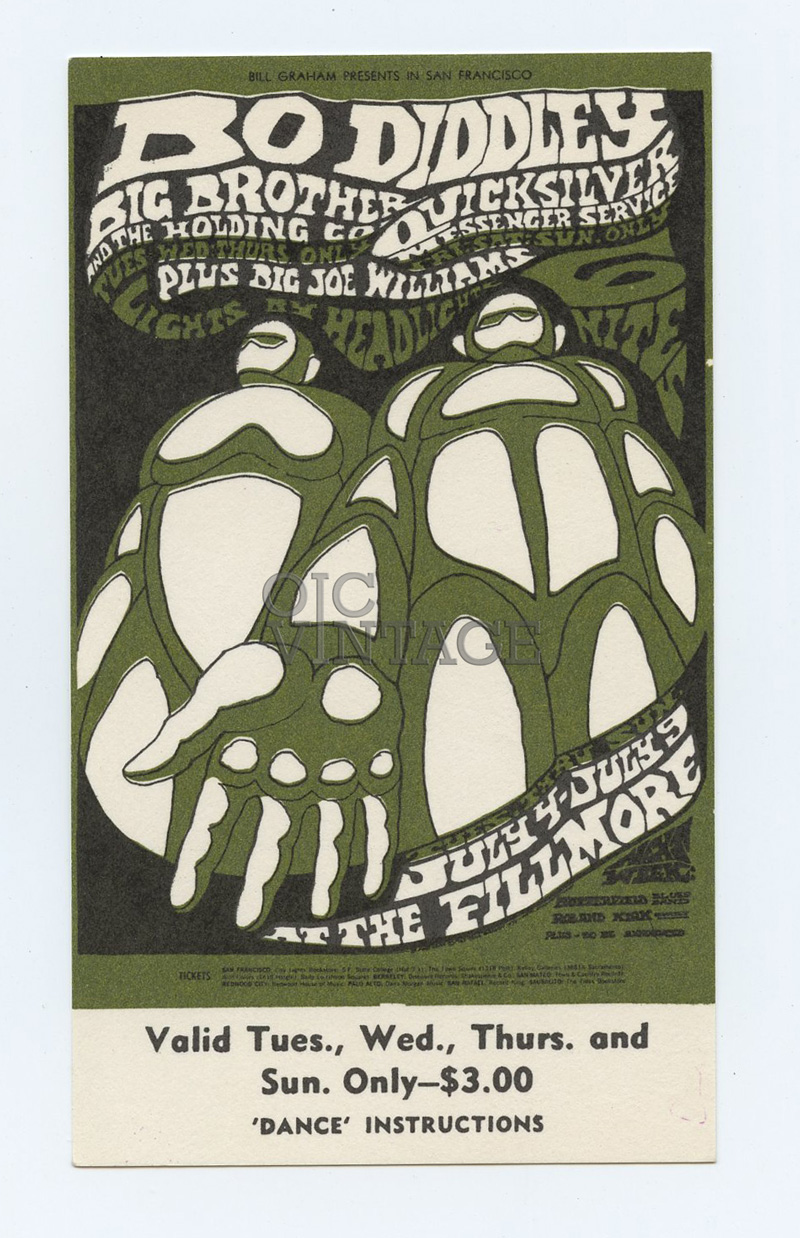 Bill Graham 71 Ticket 1967 Jul 4 Big Brother and Holding Co Quicksilver 1967 Jul 4