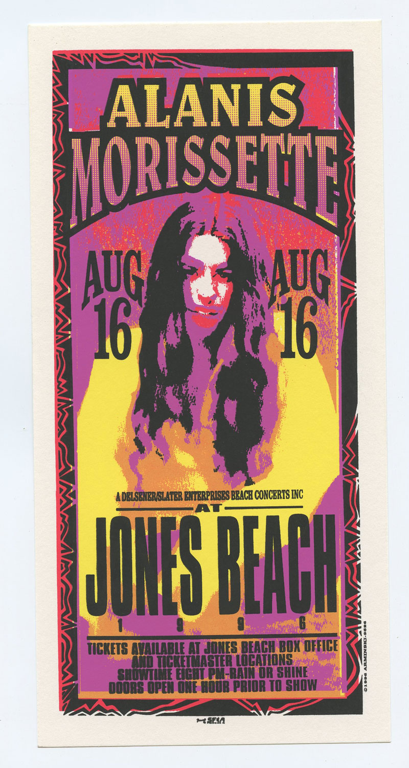 Alanis Morissette Handbill 1996 Aug 6 Jones Beach
