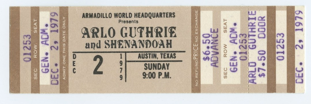 Arlo Guthrie Ticket 1979 Dec 2 Armadillo Word Headquarters Austin Unused