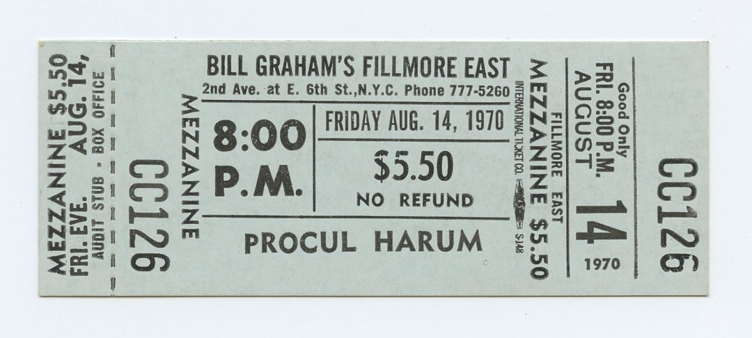 Bill Graham Fillmore East Ticket PROCUL HARUM 1970 Aug 14 8PM Unused