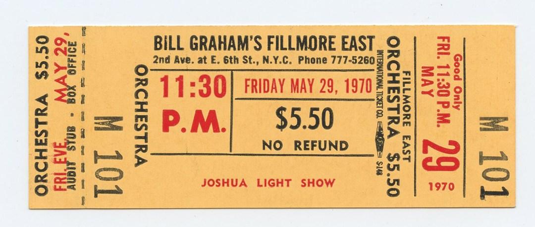 Bill Graham Fillmore East Ticket JOSHUA LIGHT SHOW 1970 May 29 11:30PM Unused