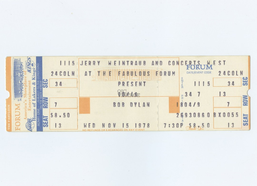 Bob Dylan Ticket  1978 Nov 15 The Fabulous Forum Unused