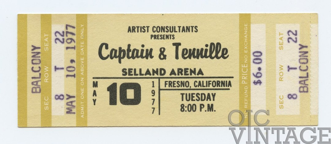 Captain and Tennnille Ticket 1977 May 10 Fresno Unused