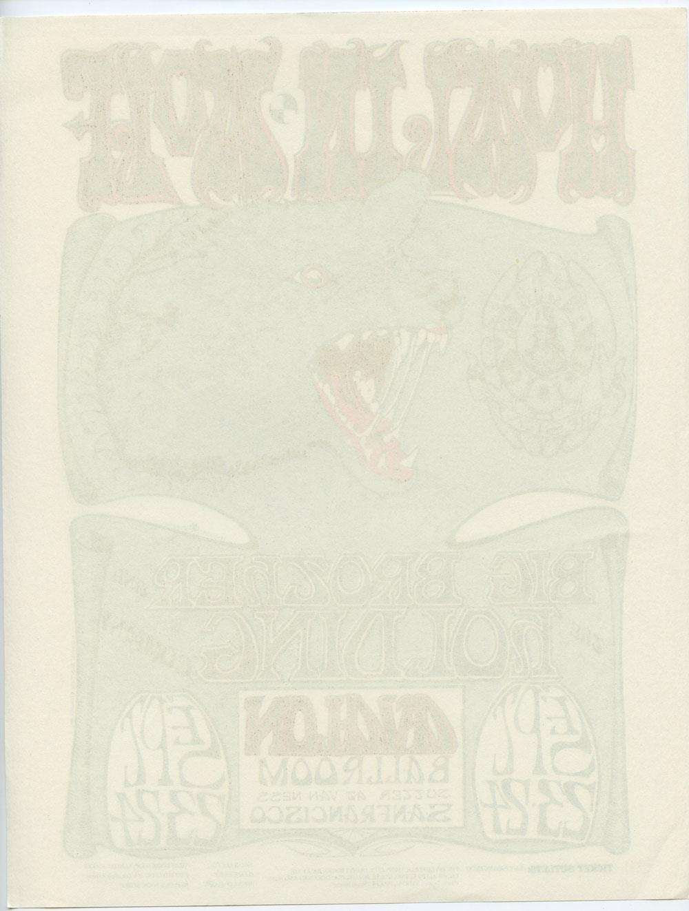 Family Dog 027 Handbill Howlin' Wolf  Big Brother & the Holding Co 1966 Sep 23