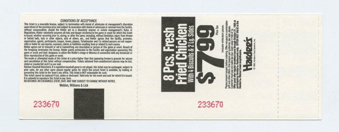 Allman Brothers Band Ticket 1995 Jul 29 Walnut Creek Amphitheatre Unused
