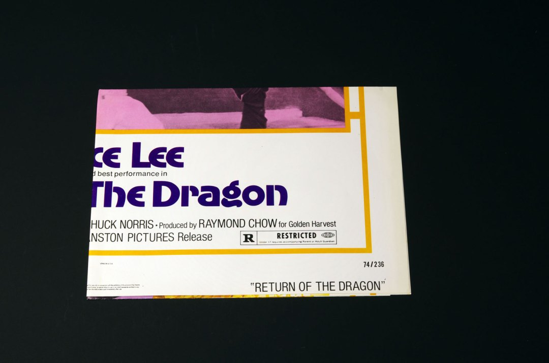 Bruce Lee Movie Poster 1974 Return of The Dragon 27 x 41 1 Sheet