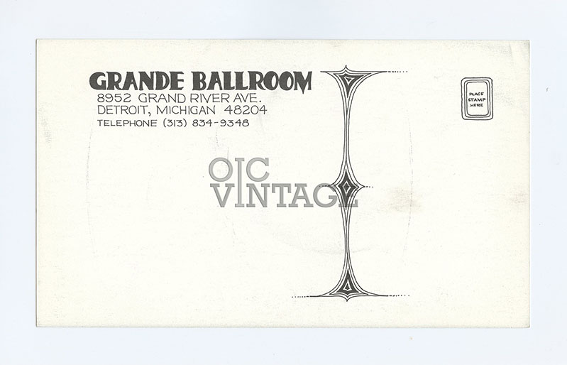 Grande Ballroom Postcard 1968 Aug 9 Canned Heat Rationals Jagged Edge