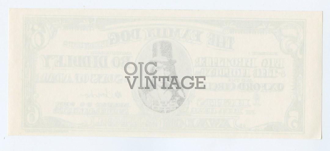 Family Dog 019 Handbill Dollar Bill 1966 Aug 5 Big Brother & The Holding Co Bo Didley