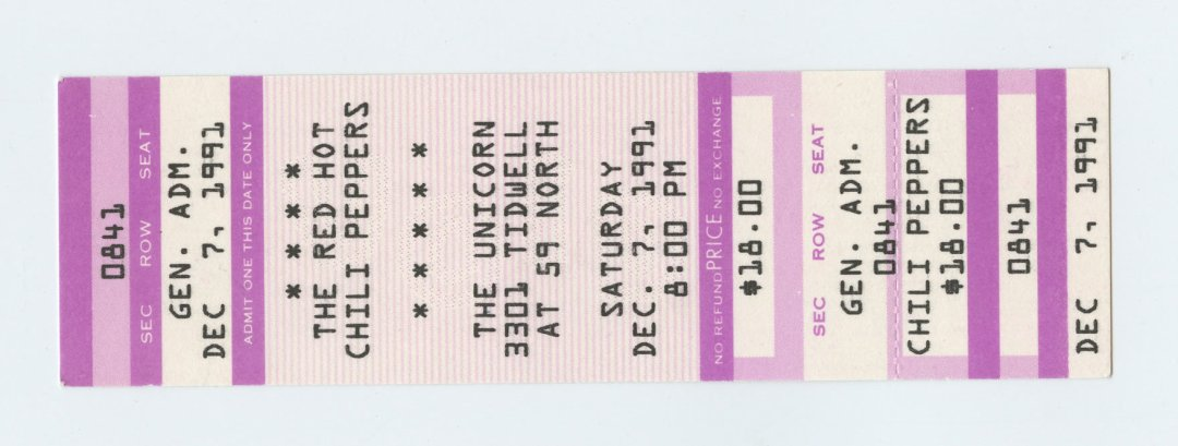 The Red Hot Chili Peppers  Ticket 1991 Dec 7 The Unicorn Houston Unused