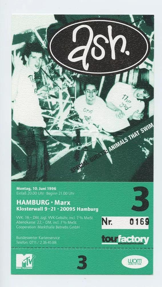 ASH Ticket 1996 Jun 19 Hamburg Germany Unused