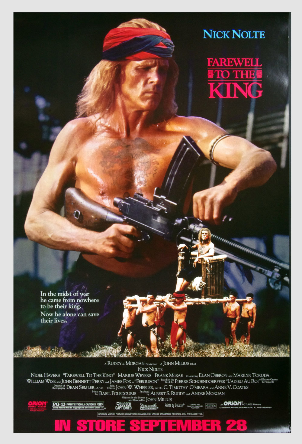 Farewell To The King Poster 1989 Nick Nolte Home Video Promo 25 x 38