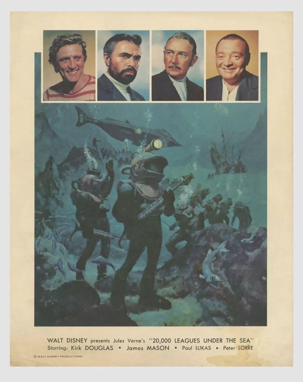 Kirk Douglas James Mason 1954 20,000 Leagues Under the Sea Lobby Card