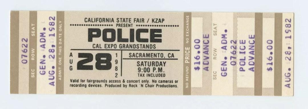 Police Ticket 1982 Aug 28 CAL EXPO Sacramento CA Unused