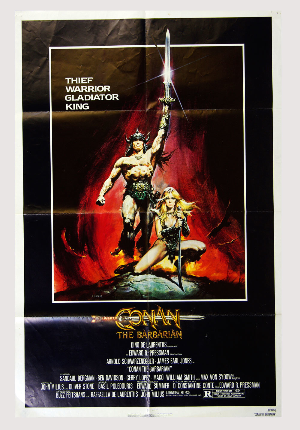 Conan The Barbarian Movie Poster 1982 Arnold Schwarzenegger 27 x 41 1 sheet