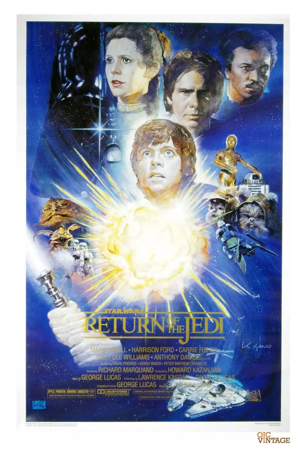 Star Wars Return Of The Jedi Poster 1994 Kazu Sano w/ Certificate of Authenticity  27x41