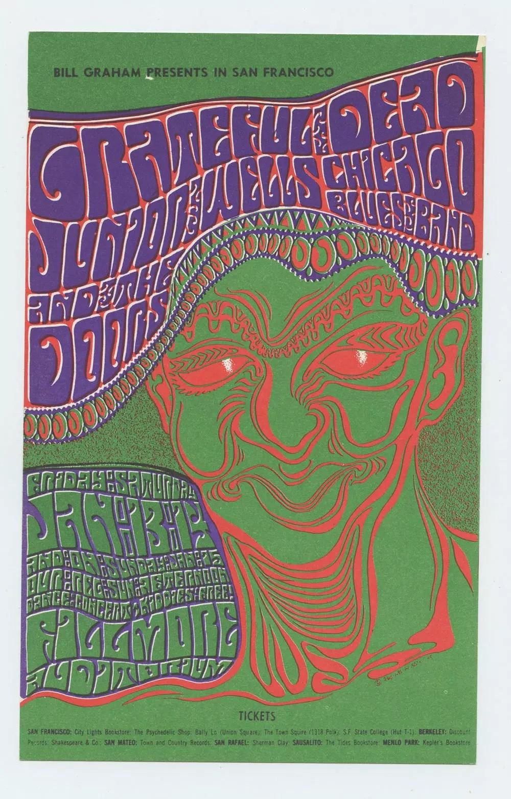 Bill Graham  45 Handbill Grateful Dead The Doors 1967 Jan 13