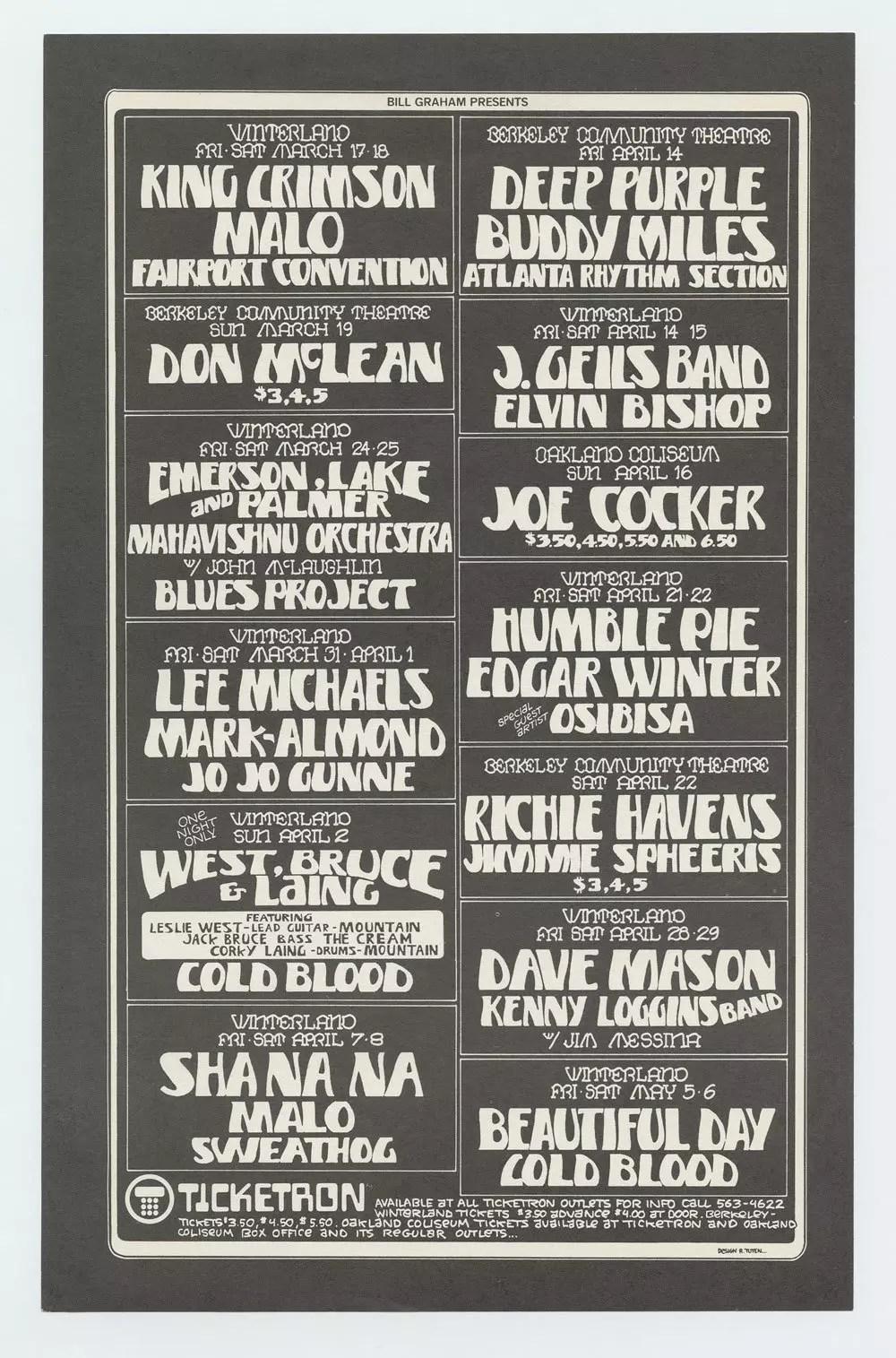 Bill Graham Presents Flyer 1972 March King Crimson Deep Purple Buddy Miles
