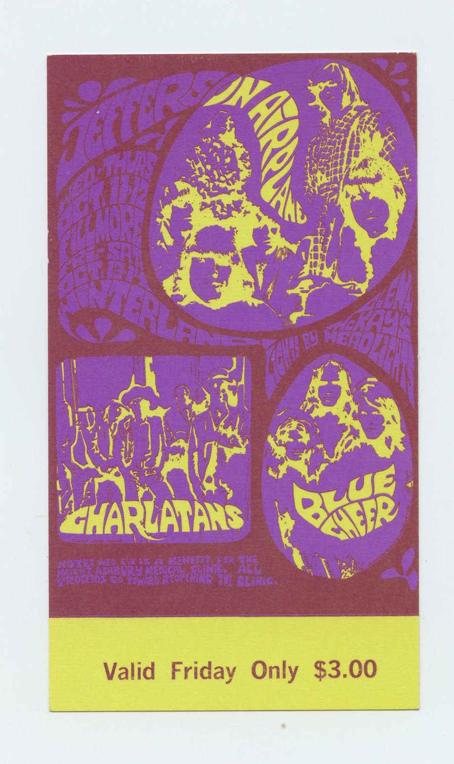 BG 88 Ticket Jefferson Airplane Charlatans Blue Cheer 1967 Oct 11