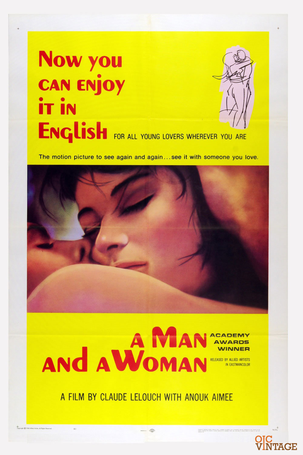 A Man and A Woman 1966 Movie Poster Anouk Aimée Jean-Louis 27 x 41 1 sheet