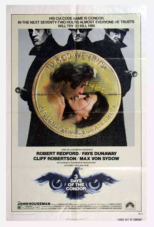 Three Days of Condor Movie Poster 1975 Robert Redford 27 x 41