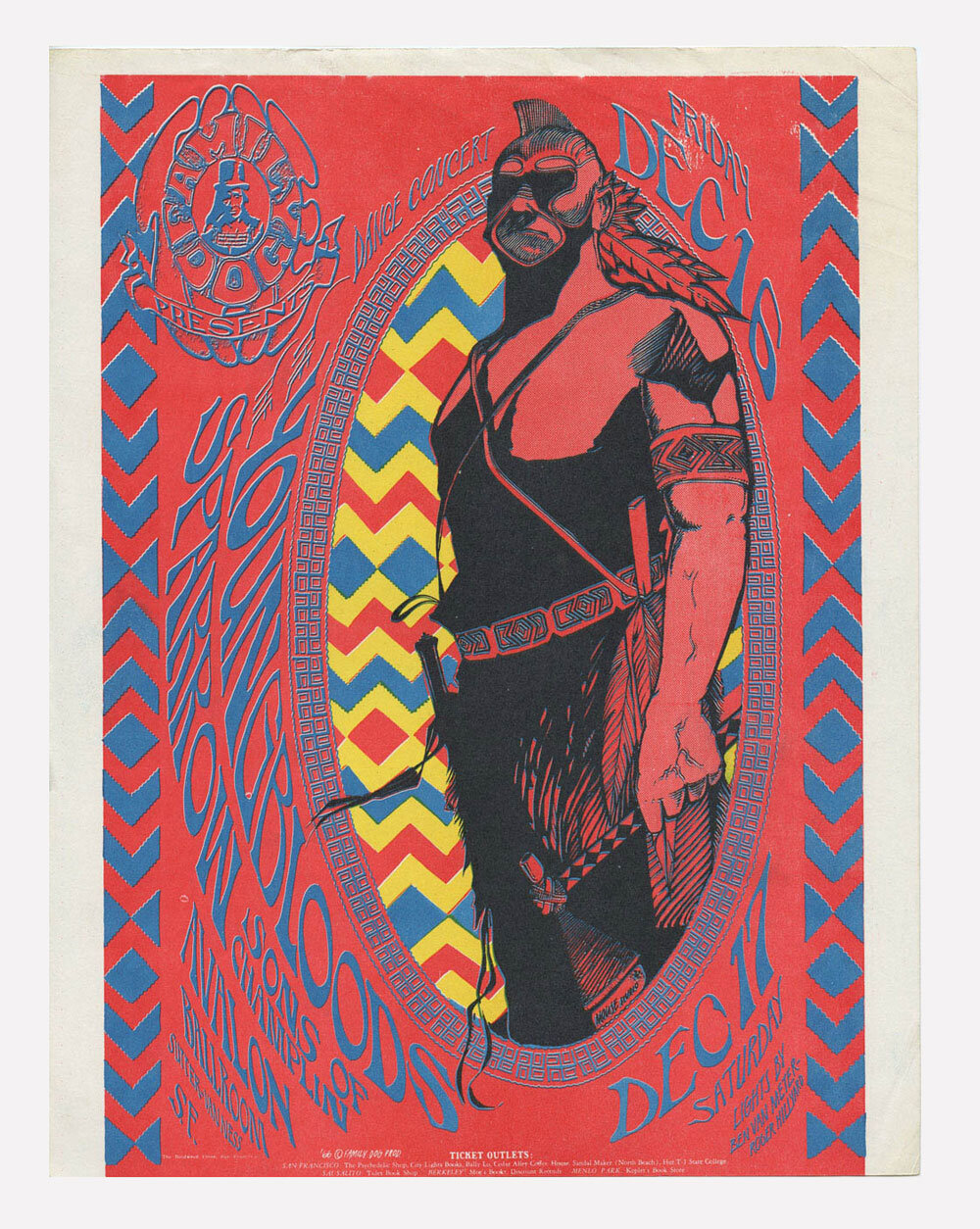 Family Dog 39 Handbill Redskin 1966 Dec 16 Youngbloods Sparrow The Sons of Champlin