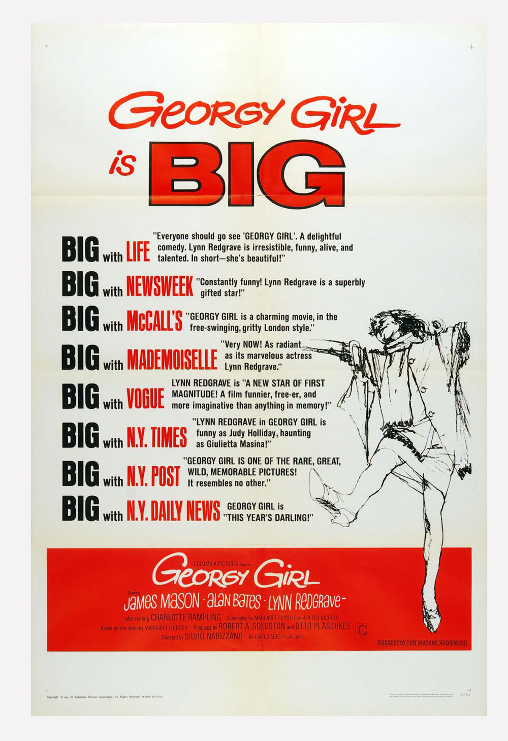 Georgy Girl Movie Poster 1966 Lynn Redgrave 27 x 41